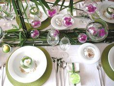 Décoration de table pour une mariage sur le thème des bulles