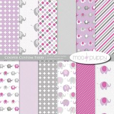 Digital Scrapbook Paper  -  Cooper Custom Terry  -- INSTANT DOWNLOAD
