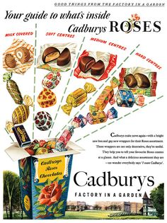 Roses ad A taste bud tempting guide to what's inside Cadbury Rose candies. - I love Cadbury's Roses do they still make them?A taste bud tempting guide to what's inside Cadbury Rose candies. - I love Cadbury's Roses do they still make them? Old Sweets, Vintage Sweets, Vintage Food, Retro Candy, Vintage Candy, Retro Recipes, Vintage Recipes, Retro Advertising, Vintage Advertisements