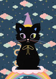 Carly Watts Illustration: Rainbow Familiar #blackcat #halloween #rainbow #illustration