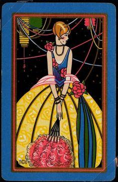 Vintage Art Deco Coy Beauty w Fan 1920's Frame Ready Named Playing Card | eBay