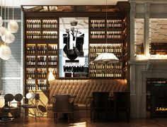 Nosh and Chow restaurant by Lazaro Rosa-Violán...love the mixture of texture and lighting in this space...would replace the wine bottles with books