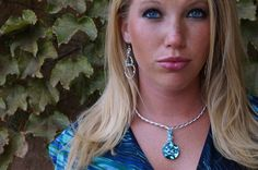 Blue necklace crystal