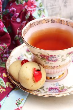 Afternoon tea and Jam Drop Cookies from Cherry on a Cake