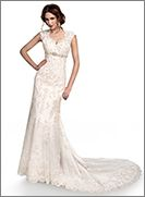Bernadette - by Maggie Sottero for #mirabridalcouture. Slim line gown with button over zipper closure. This intricate lace gown features a beautiful high mandarin keyhole back and a fishtail train finished with scalloped edging. Swarovski crystals are delicately sprinkled throughout with rich decorative beading at the empire waist.