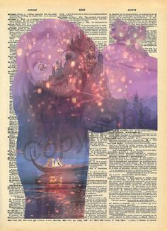 Tangled Rapunzel Dictionary Art Print by AmourPrints on Etsy