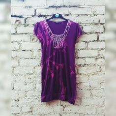 Boho Dress Short Purple Dress in Tie Dye with Embroidery Detail to fit UK size 14 or US size 10