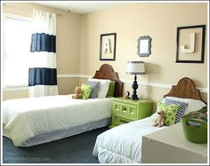 Cute green and navy #boys #room.