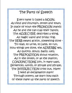 8 Parts Of Speech Song | This second parts of speech poem is taken from Language and Grammar .