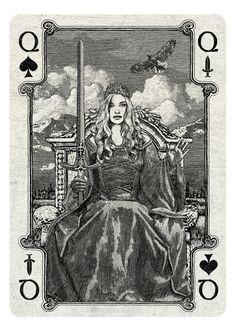 ARCANA playing cards by Chris Ovdiyenko - Kickstarter.  Queen of Spades/Swords