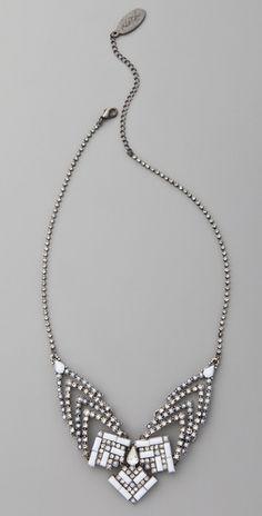 Adia Kiber Studded Triangles Bib Necklace #adiakiber #studdedtrianglesbibnecklace #bibnecklace $65