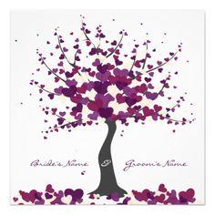 """Un árbol elegante con las hojas en forma de corazón/flor - en las ramas, poniendo en la tierra y cayendo a través del aire. """"Se va"""" en este diseño son púrpura, ciruelo y diversas combinaciones de color de la crema sin embargo están disponibles. Todo el texto es completamente editable, al igual que las imágenes en caso de que usted quiera hacer los ajustes/cancelación algo. Este diseño está también disponible como invitaciones clasificadas/formadas diferente, gracias las tarjetas, menú, orden…"""