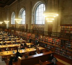 The Rose Main Reading Room in the main branch of the New York Public Library, Manhattan.
