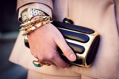 Harlow Bangles and Cartier watch w/ Givenchy clutch.   Classic and Modern in one!