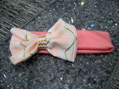 Pink bow headband baby headband stretch by LittleBowsPixieDust