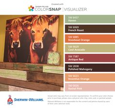 I found these colors with ColorSnap® Visualizer for iPhone by Sherwin-Williams: Haven (SW 6437), French Roast (SW 6069), Knockout Orange (SW 6885), Cool Avocado (SW 9029), Antique Red (SW 7587), Polished Mahogany (SW 2838), Inventive Orange (SW 6633), Rachel Pink (SW 0026).