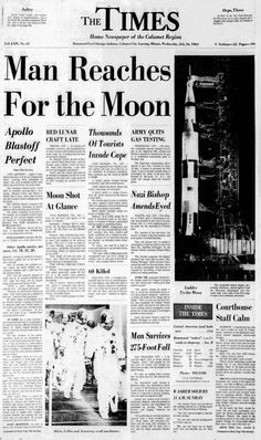 To the moon! 20 newspaper headlines from the Apollo 11 launch on July 1969 - Click Americana To the moon! 20 newspaper headlines from the Apollo 11 launch on July 1969 - Click Americana Newspaper Wall, Newspaper Layout, Vintage Newspaper, Newspaper Headlines, Newspaper Design, Apollo 11 Launch, Army Crafts, Shoot The Moon, Postive Quotes