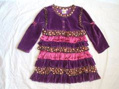 GIRL'S LE FROMAGE ET L'ORANGE BOUTIQUE TIERED RUFFLE SCHOOL PAGEANT DRESS S 4 4T