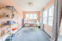 Home Tour (Before & Afters) - Lemon Stripes. Pink home office. glamorous, chic, professional home office. Pink Home Offices, Work From Home Tips, Family Room Design, Big Windows, Home Office Decor, Home Decor, Home Hacks, Decoration, House Tours