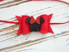 Baby Minnie Headband - Red Minnie Headband - Red Bow Minnie Headband - Newborn Minnie Headband - Minnie Mouse Headband by AvaBowtiquee on Etsy