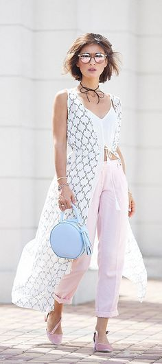 pastel colors summer outfits   chic street styles