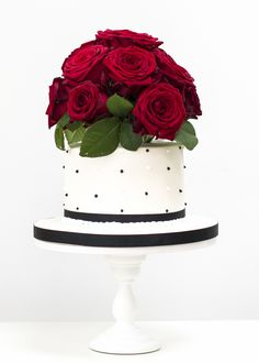 Polka Dots and Roses with Fresh Red Roses Wedding Cake by Rosalind MillerCakes - London