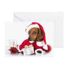 dachshund dog wearing a santa hat Greeting Card