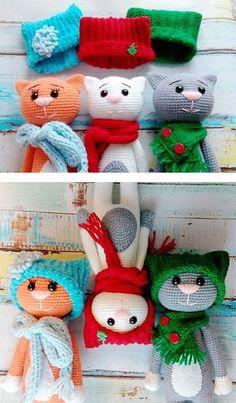Funny amigurumi cats in hats - FREE PATTERN