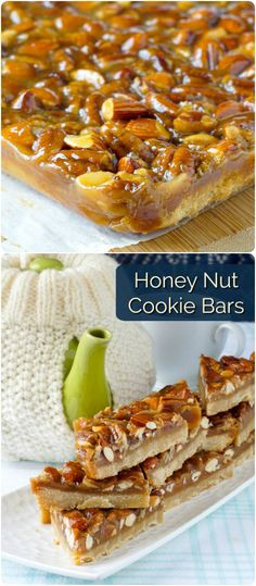 Honey Nut Bars - a super easy, freezer friendly, crunchy, chewy cookie bar! - Honey Nut Bars – a super easy and versatile recipe that can use whatever nuts you like to combine - Rock Recipes, Honey Recipes, Bar Recipes, Healthy Recipes, Christmas Baking, Holiday Baking, Christmas Cookies, Christmas Sweets, Christmas Ideas
