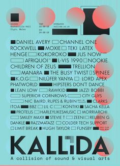RA Tickets: KALLIDA 2018 at Baskerville Hall, West + Wales Poster Fonts, Typographic Poster, Cover Design, Design Art, Graph Design, Illustrations And Posters, Typography Design, Graphic Illustration, Infographic