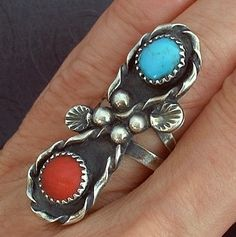 OLD PAWN Vintage NATIVE American Ring Navajo Turquoise Coral Gemstones Sterling Silver c.1950's!
