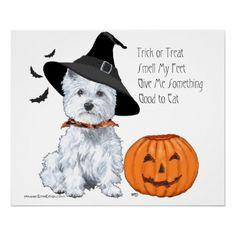 West Highland White Terrier Halloween Poster
