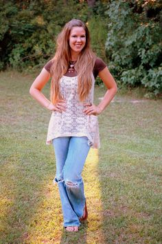 lace tunic, brown shirt, distressed denim jeans, and long loose hair casual everyday outfit. totally in my hippie/bohemian style element! creations by callie