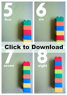 Learn with Play @ home: Printable Duplo Number Cards. Plus 5 fun ways to use them!
