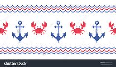 Sea border. Anchors. Crabs. Cross stitch. Scheme of knitting and embroidery. Vector seamless pattern.