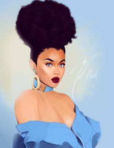 Afro Puff by MelanoidInk on DeviantArt Black Love Art, Black Girl Art, Black Is Beautiful, Black Girl Magic, Sexy Black Art, Drawings Of Black Girls, Afro Puff, African Art Paintings, Black Girl Cartoon