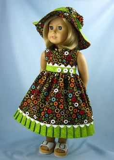 Love the colors and coordination on this dress.    Hey, I found this really awesome Etsy listing at https://www.etsy.com/listing/185155787/18-inch-doll-clothes-sundress-and-hat-in