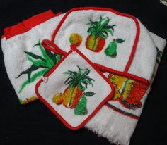1960s Vintage, 5 Piece Kitchen Hostess Set with Fruit Theme by Cannon, Apron, Potholder, Towel, Toaster Cover, Dish Cloth, Cotton Terrycloth by VictorianWardrobe on Etsy