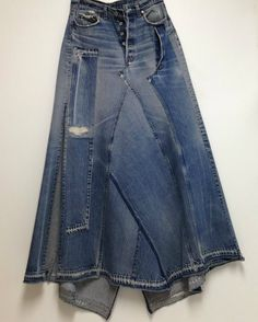 by NaritasNovelties How To Make Clothes, Diy Clothes, Denim Fashion, Boho Fashion, Denim Ideas, Denim Crafts, Jeans Rock, Denim Patchwork, Recycled Denim