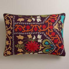 sofa throw pillow. One of my favorite discoveries at WorldMarket.com: Purple Suzani Lumbar Pillow