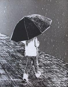 """Autor: Ana Arista, """"Lluvia"""", técnica: grabado cliché verré."""