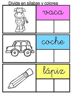 Segmentación silábica Divide en sílabas y colorea -Orientacion Andujar Letter Worksheets, Preschool Worksheets, Spanish Immersion, Spanish Class, How To Plan, Education, Comics, Kids, Speech Pathology
