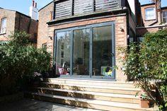 3 metre extension, steps down to garden, roof terrace - Modern Curved Pergola, Pergola Lighting, Pergola Shade, Pergola Kits, Pergola Ideas, Decking Ideas, Cheap Pergola, Patio Steps, Gardens