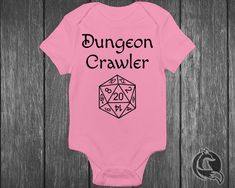Gaming Baby Clothing - Dungeon Crawler - Pen And Paper Tabletop Gamer - Dungeons And Dragons - D Baby Bodysuit, Baby Onesie, Onesies, Dragon Nursery, Wishes For Baby, Baby Games, Pen And Paper, Baby Boy Outfits, Dungeons And Dragons