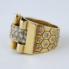 Van Cleef & Arpels Ludo Hexagone Diamond Gold Ring Circa 1936   From a unique collection of vintage more rings at https://www.1stdibs.com/jewelry/rings/more-rings/