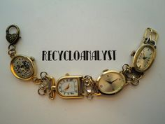 Steampunk Recycled Vintage Watches and Working by Recycloanalyst, $38.00