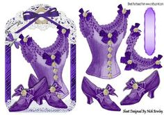 Pretty purple vintage basque and Shoes in lace frame on Craftsuprint - Add To Basket!