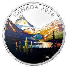 Pièce colorée de 1 oz en argent fin – Série Paysages canadiens – Le lac – Tirage : 7 500 (2016)