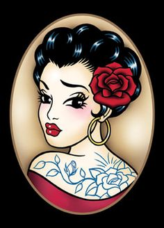 Gypsy Tattoo' The Art of Claudia Hek Pin Up Tattoos, Tattoo You, Body Art Tattoos, Sleeve Tattoos, Gypsy Tattoos, Rose Tattoos, Estilo Cholo, Dibujos Pin Up, Rockabilly Art
