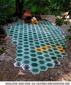 Colorful honeycomb tile design by Tracey Reinberg, Kismet tiles use a Moroccan-made cement that marries traditional craft with modern design. Patio Tiles, Outdoor Tiles, Outdoor Spaces, Outdoor Living, Outdoor Decor, Cement Tiles, Indoor Outdoor, Art Tiles, Mosaic Tiles